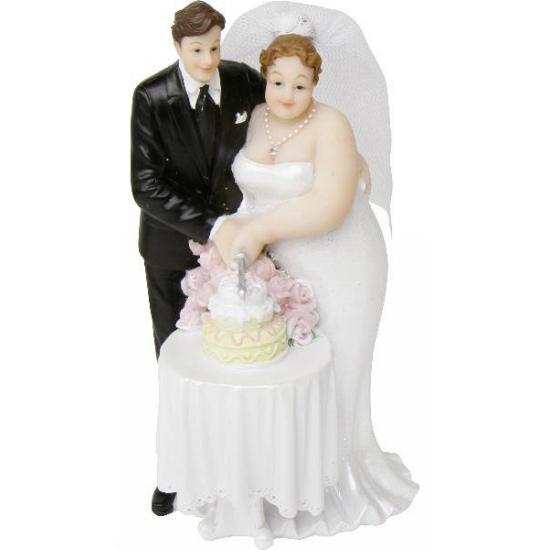 Bruidspaar taart decoratie met taart 14 cm