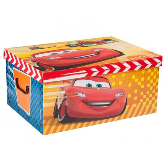 Cars opbergdoos 51 cm. deze ruime kartonnen opbergdoos met vrolijke plaatjes van cars heeft een formaat van ...