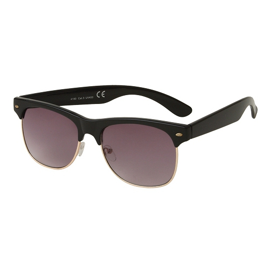 Clubmaster zonnebril glans zwart
