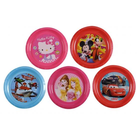 Disney princess bord 21 cm. dit roze plastic bordje met vrolijke plaatjes van disney princess heeft een ...