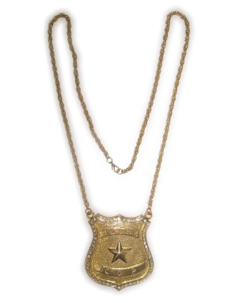 Gouden politie ketting met badge. goudkleurige ketting met grote badge.