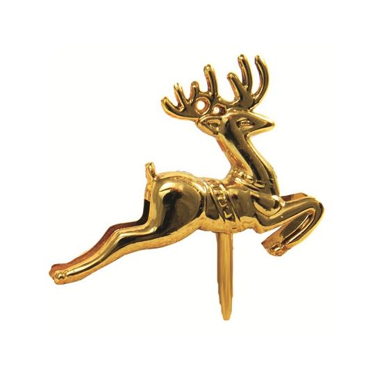 Gouden rendieren op stekers. setje van 6 stekers met een gouden rendier. leuk voor in een kerststukje of ter ...
