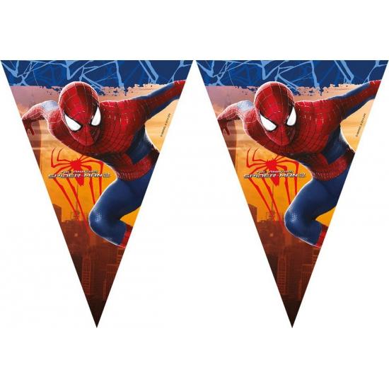 Spiderman vlaggenlijn 2,3 meter. deze feestelijke plastic vlaggenlijn met plaatjes van spiderman heeft een ...