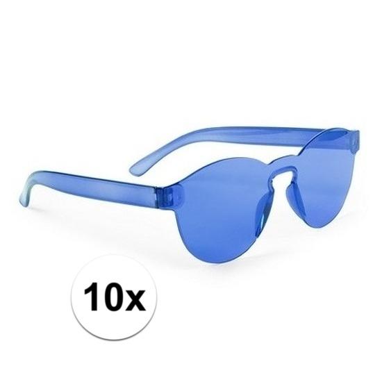 10x Blauwe verkleed zonnebrillen voor volwassenen