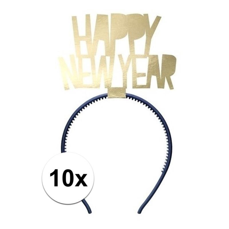 10x Happy New Year diademen voor dames oud en nieuw-nieuwjaar