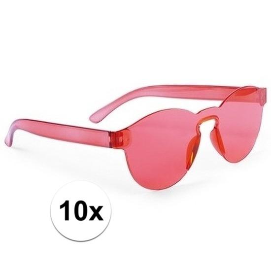 10x Rode verkleed zonnebrillen voor volwassenen
