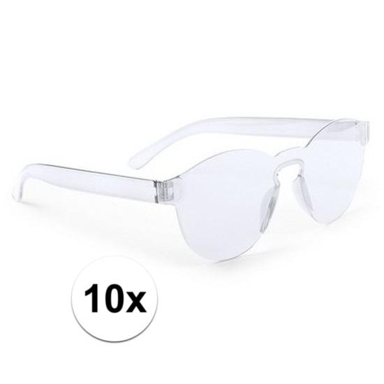 10x Transparante verkleed zonnebrillen voor volwassenen
