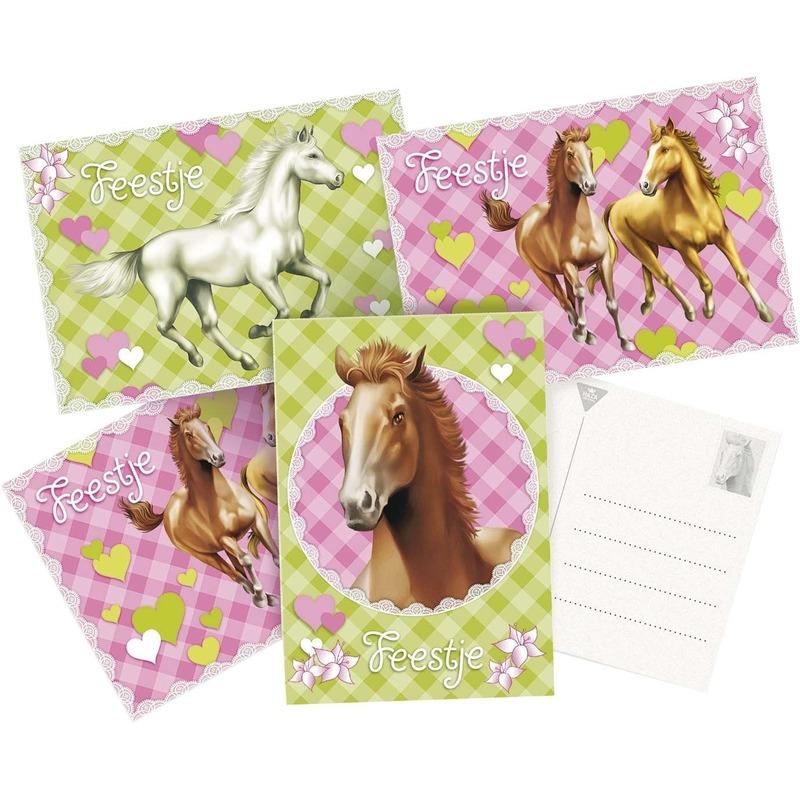 12x Paarden themafeest uitnodigingen-kaarten