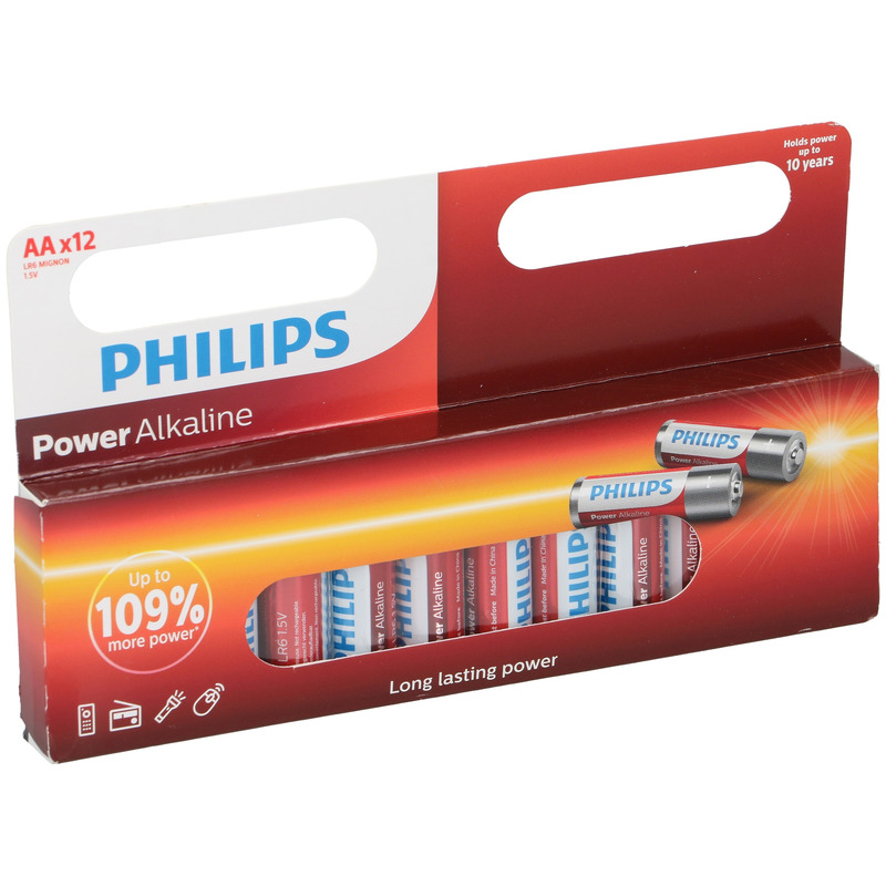 12x Philips AA batterijen power alkaline 1.5 V