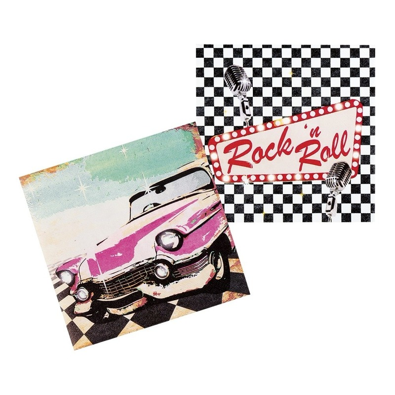12x Rock n Roll servetten 33cm