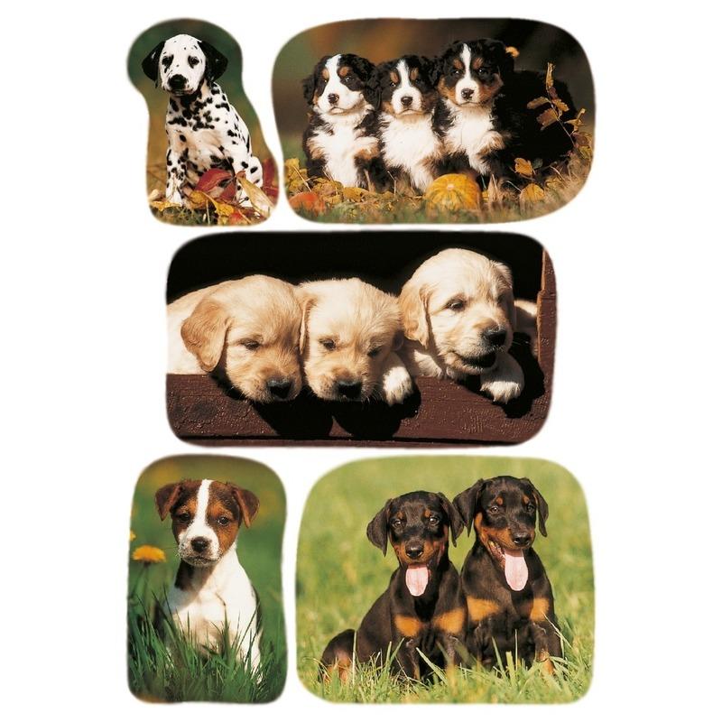 15x Honden-puppy dieren stickers