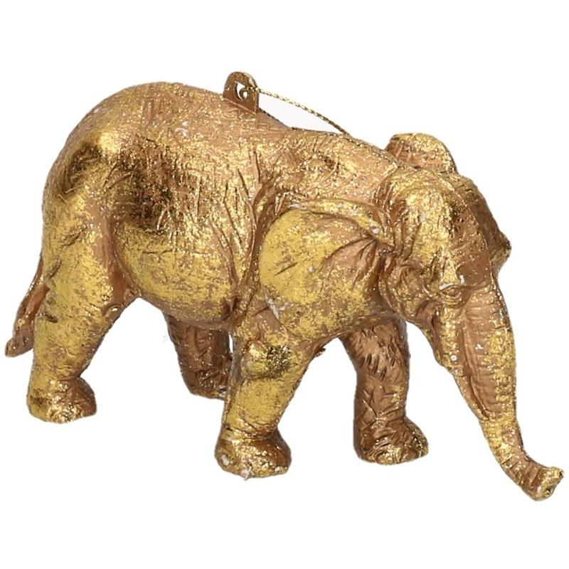 1x Kersthangers figuurtjes olifant goud 12 cm