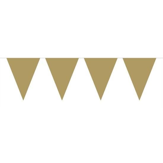 1x Mini vlaggenlijn-slinger goud 300 cm