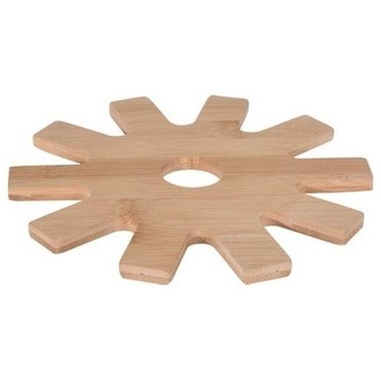 1x Tandwiel pannen onderzetter bamboe 20 cm