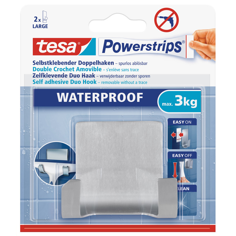 1x Tesa RVS dubbelehaak waterproof Powerstrips klusbenodigdheden 6 x 7 cm