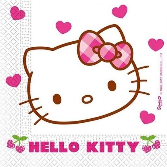 20x Hello Kitty themafeest servetjes 20 cm