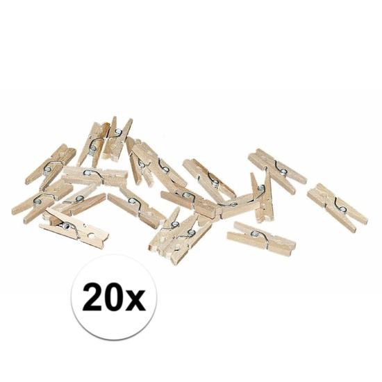 20x mini knijpertjes naturel