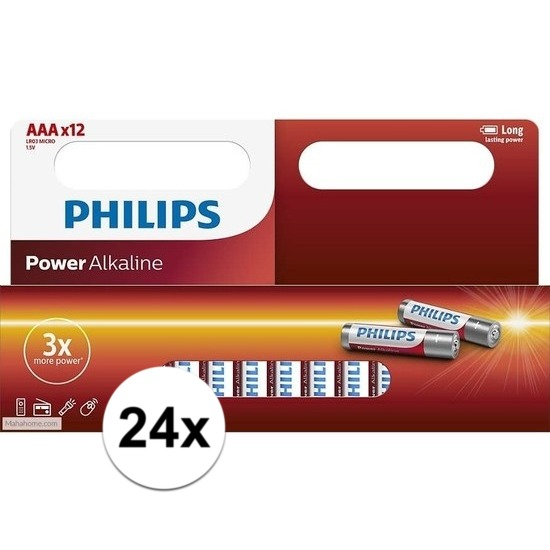 24x Philips AAA batterijen power alkaline
