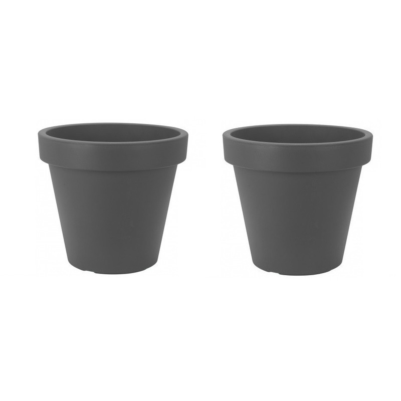 2x Bloempotten-plantenpotten grijs 30 cm