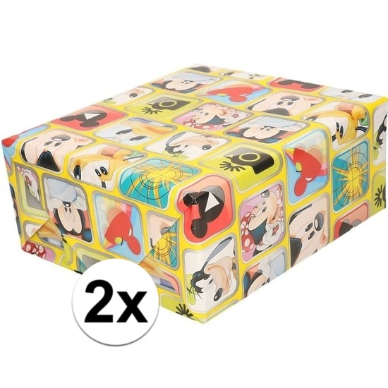 2x Disney inpakpapier-cadeaupapier Mickey Mouse 200 x 70 cm rol