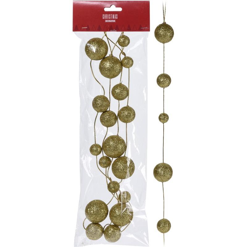 2x Guirlande ronde gouden balletjes 360 cm kerstversiering