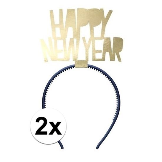 2x Happy New Year diademen voor dames oud en nieuw-nieuwjaar