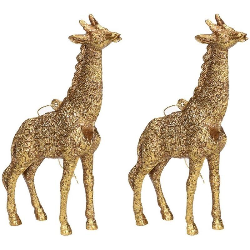 2x Kersthangers figuurtjes giraf goud 8 cm