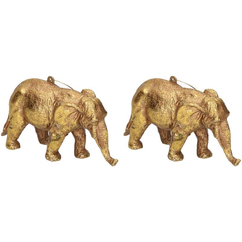 2x Kersthangers figuurtjes olifant goud 12 cm