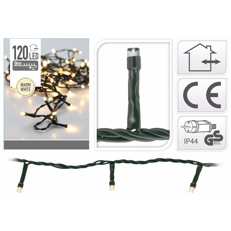 2x Kerstverlichting warm wit buiten 120 lampjes