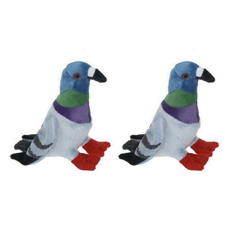 2x Pluche gekleurde duif-duiven knuffels 19 cm speelgoed