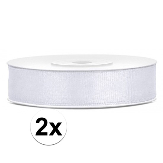 2x Satijn sierlint wit rollen van 25 meter x 12 mm
