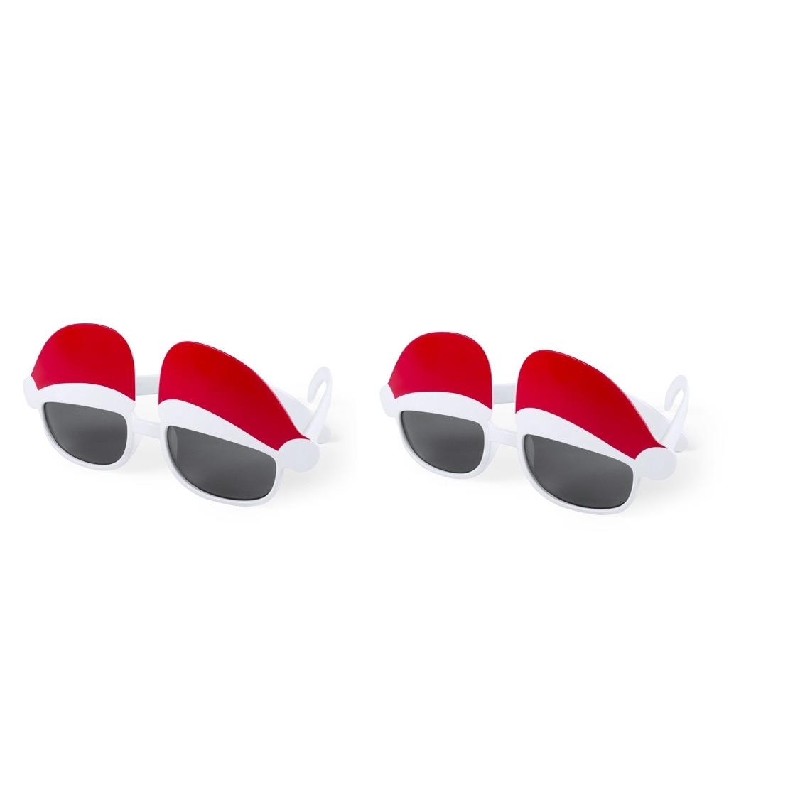 2x stuks kerst thema zonnebrillen-feestbrillen met kerstmutsen