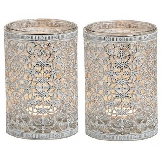 2x Waxinelicht-theelicht houders zilver antiek 12 cm