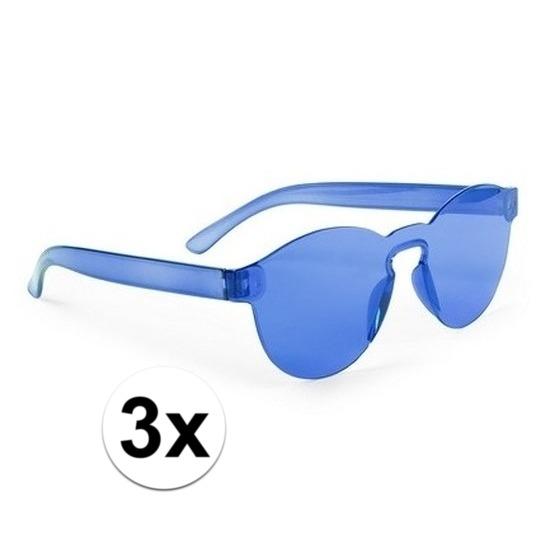 3x Blauwe verkleed zonnebrillen voor volwassenen