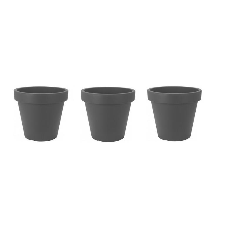 3x Bloempotten-plantenpotten grijs 30 cm