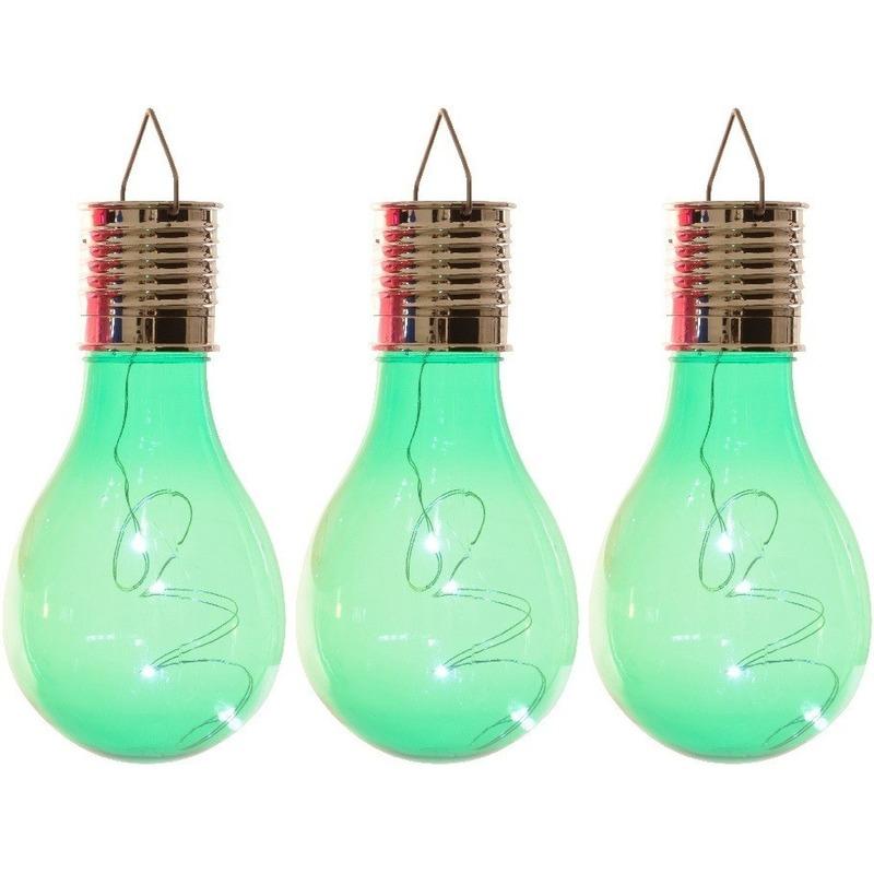 3x Buiten LED groene lampbolletjes solar verlichting 14 cm