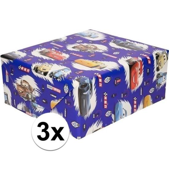 3x Disney inpakpapier-cadeaupapier Cars blauw 200 x 70 cm op rol
