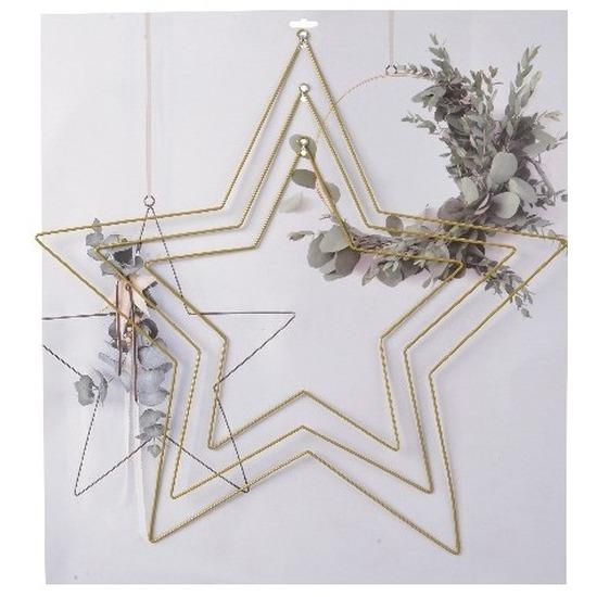 3x DIY stervormige eucalyptus-bloemen krans-hangers set goud