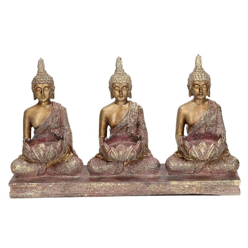 3x Goud boeddha beeldjes met waxine-theelicht houder 17 cm