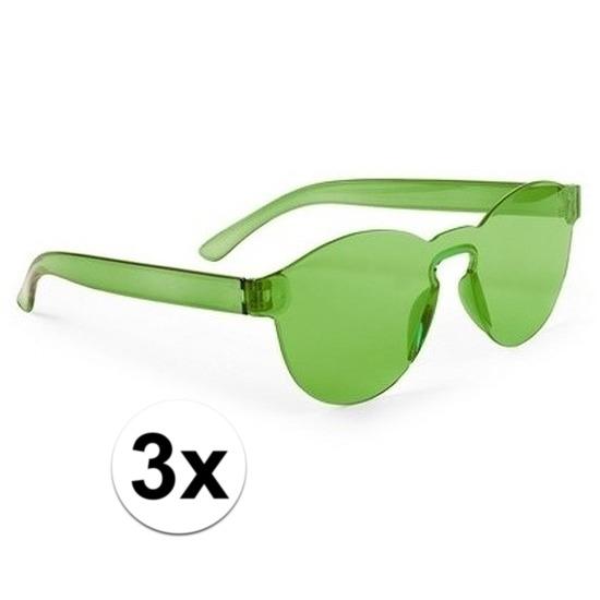 3x Groene verkleed zonnebrillen voor volwassenen