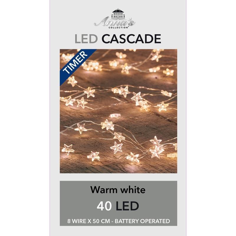 3x Kerst cascadeverlichting met timer 40 lampjes wit 8x 50 cm
