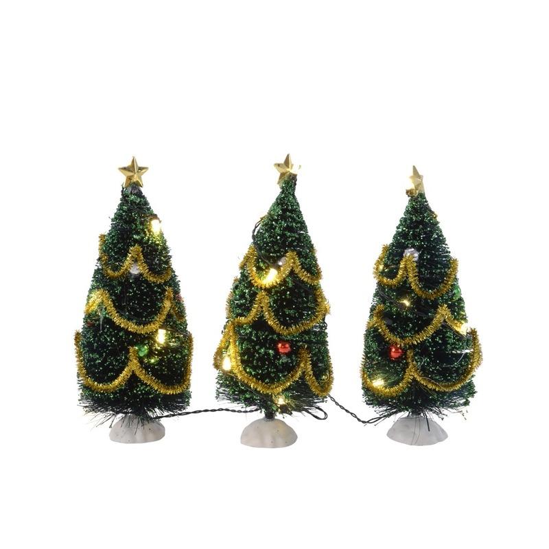 3x kerstdorp kerstboompjes met verlichting 16 cm