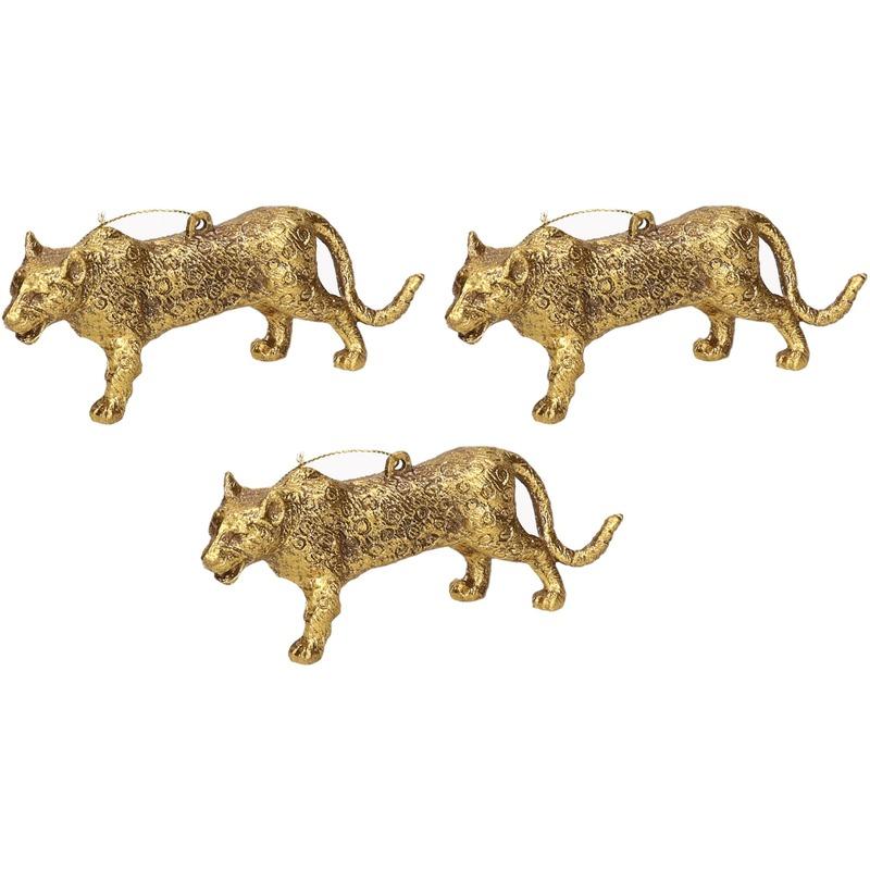 3x Kersthangers figuurtjes luipaard goud 12,5 cm