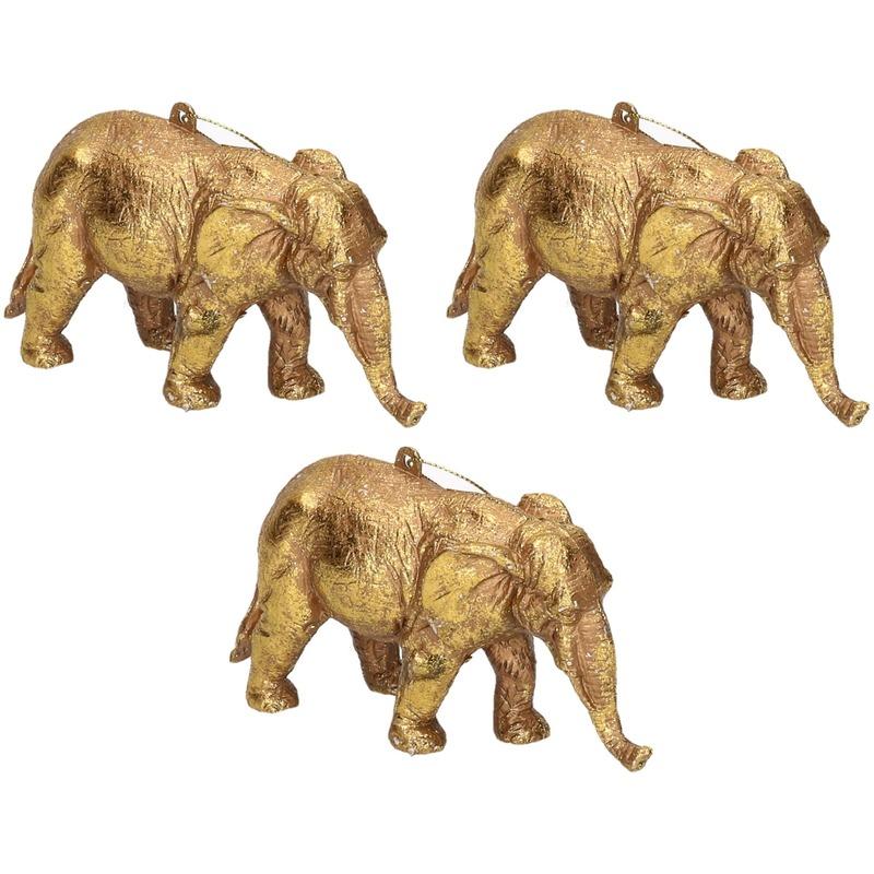 3x Kersthangers figuurtjes olifant goud 12 cm