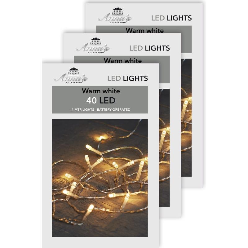 3x Kerstverlichting op batterijen warm wit 40 lampjes 400 cm