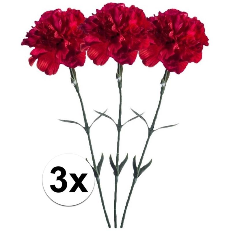 3x Rode Anjer kunstbloemen tak 65 cm