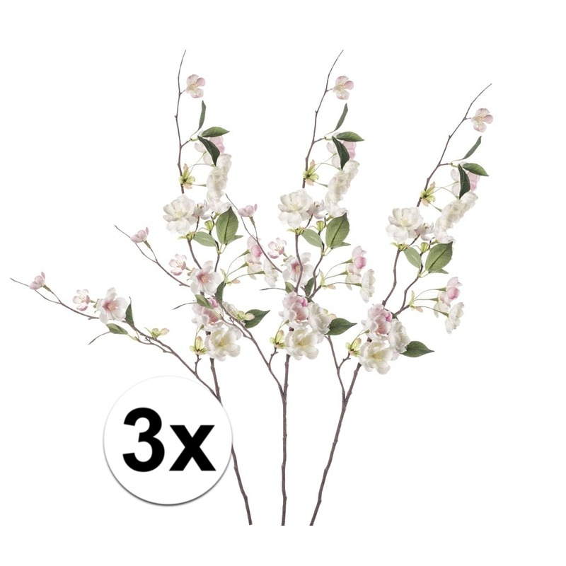3x Roze perzikbloesem kunstbloemen tak 80 cm