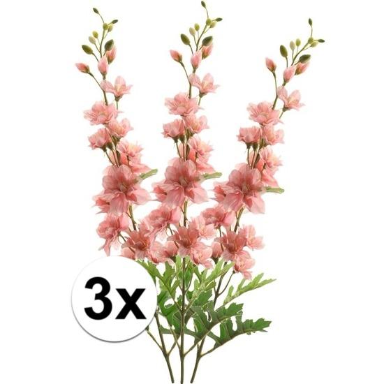 3x Roze Ridderspoor kunstbloemen tak 70 cm