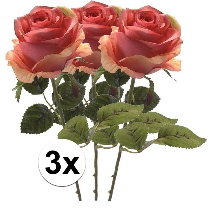 3x Roze roos kunstbloem Simone 45 cm