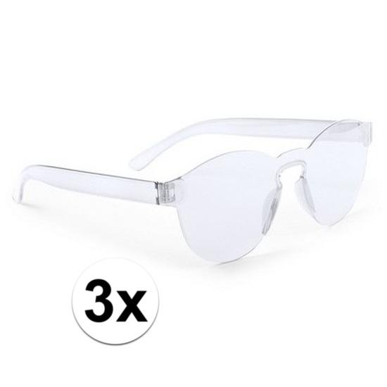 3x Transparante verkleed zonnebrillen voor volwassenen